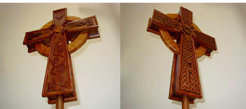 Front and back views of processional cross